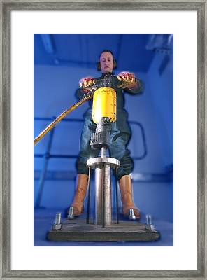 Pneumatic Drill Testing Framed Print by Crown Copyrighthealth & Safety Laboratory
