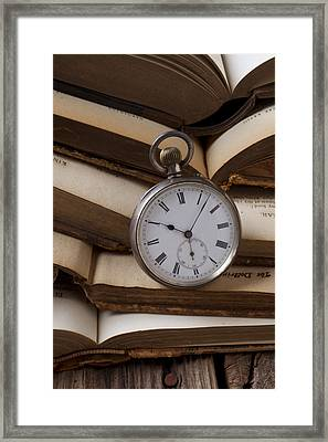 Pocket Watch On Pile Of Books Framed Print by Garry Gay