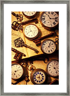 Pocket Watches And Old Keys Framed Print by Garry Gay