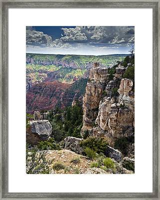 Point Imperial Cliffs Grand Canyon Framed Print by Gary Eason