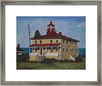 Point Lookout Lighthouse Md Framed Print by Kim Selig