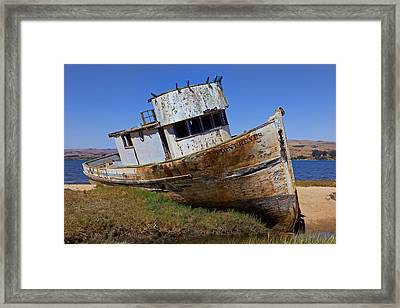 Point Reyes Beached Boat Framed Print by Garry Gay