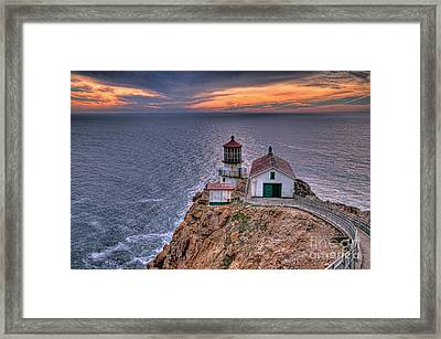 Point Reyes Lighthouse At Sunset Framed Print
