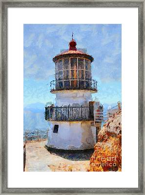 Point Reyes Lighthouse In California . 7d16008 Framed Print by Wingsdomain Art and Photography
