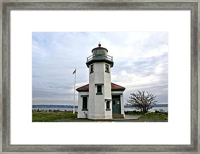 Framed Print featuring the photograph Point Robbinson Light Houe  by Rob Green