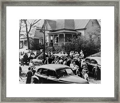 Police And White Citizens Gather Framed Print by Everett