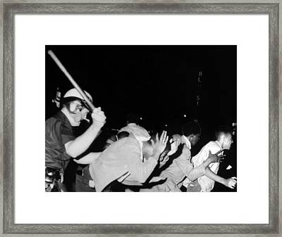 Police Club Demonstrators In Harlem Framed Print by Everett