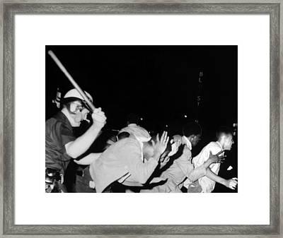 Police Club Demonstrators In Harlem Framed Print by Everett