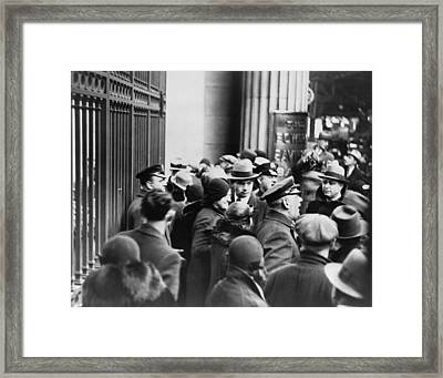 Police Control A Crowd Of Panicked Framed Print
