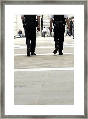 Police Officers Patrolling Framed Print by Tony Mcconnell