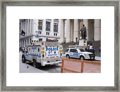 Police On Wall Street, New York. Framed Print