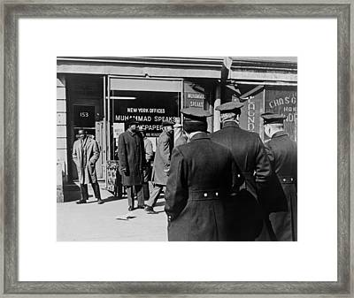 Police Standing Outside A Black Muslims Framed Print by Everett