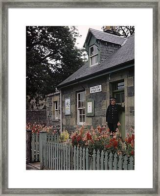 Policeman And Dog Stand At Police Framed Print by B. Anthony Stewart