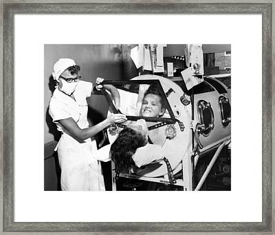Polio Patient Flossie Rogers Looking Framed Print by Everett