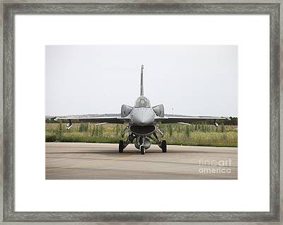 Polish F-16c Block 52 At Albacete Framed Print by Timm Ziegenthaler
