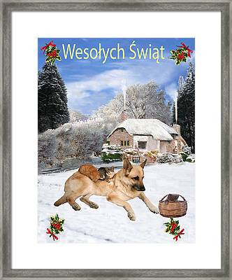 Polish German Shepherd Holiday Framed Print
