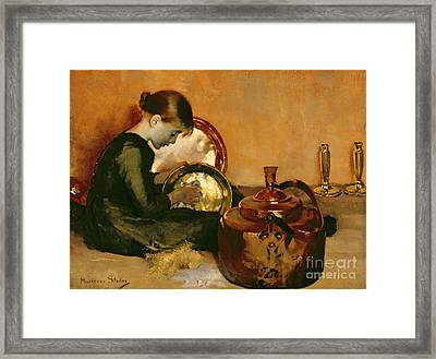 Polishing Pans  Framed Print by Marianne Stokes