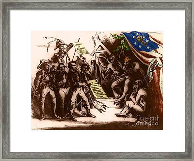Political Cartoon Of The Confederacy Framed Print by Photo Researchers