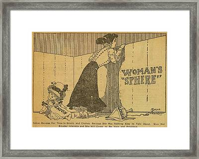 Political Cartoon Shows Woman Peering Framed Print by Everett