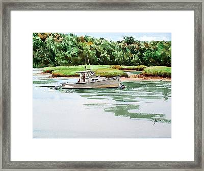 Polly C On The Mill River Framed Print by Peter Sit