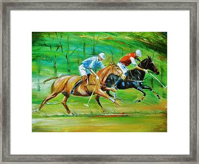 Polo Horses Framed Print by Unique Consignment