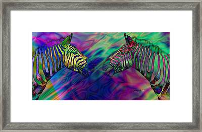 Polychromatic Zebras Framed Print by Anthony Caruso