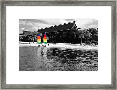 Polynesian Resort Beach Walt Disney World Prints Color Splash Black And White Framed Print
