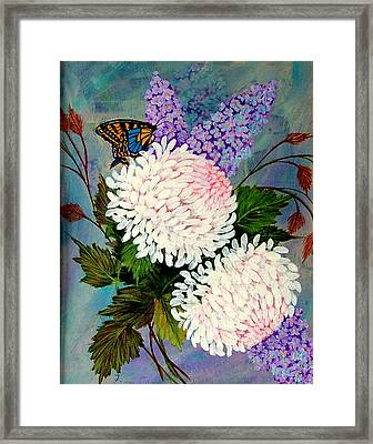 Framed Print featuring the painting Pom Pom Mums by Fram Cama