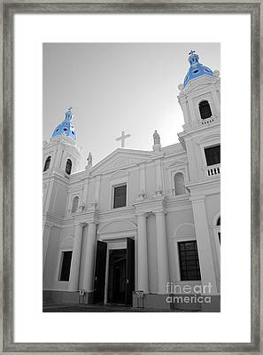 Framed Print featuring the photograph Ponce Puerto Rico Cathedral Of Our Lady Of Guadalupe Color Splash Black And White by Shawn O'Brien