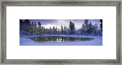 Pond And Fresh Snowfall, Near 70 Mile Framed Print by David Nunuk