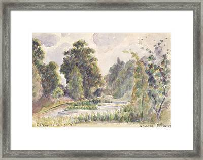 Pond At Kew Gardens Framed Print by Camille Pissarro