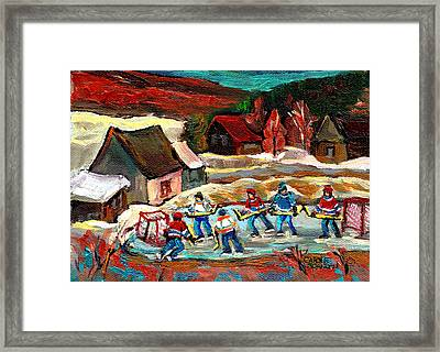 Pond Hockey 3 Framed Print by Carole Spandau