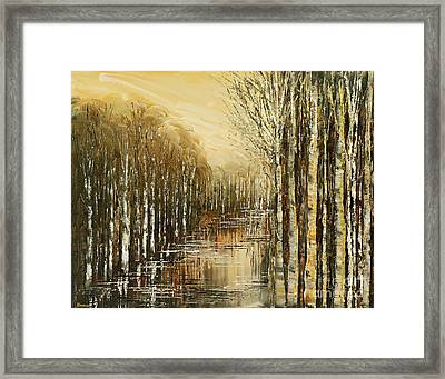 Framed Print featuring the painting Pond Security by Tatiana Iliina