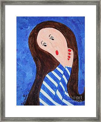 Pondering Brunette Framed Print by Jeannie Atwater Jordan Allen