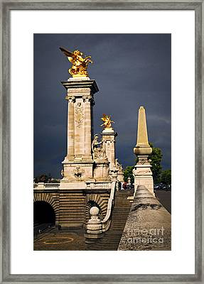 Pont Alexander IIi In Paris Before Storm Framed Print
