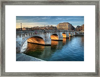 Pont-neuf And Samaritaine, Paris, France Framed Print by Romain Villa Photographe