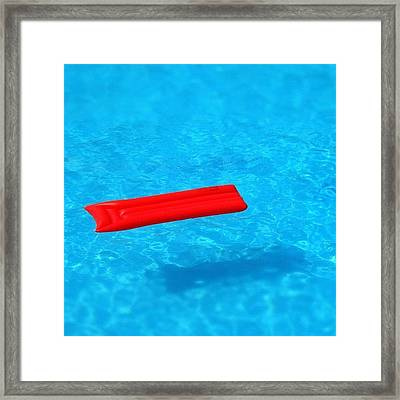 Pool - Blue Water And Red Airbed Framed Print