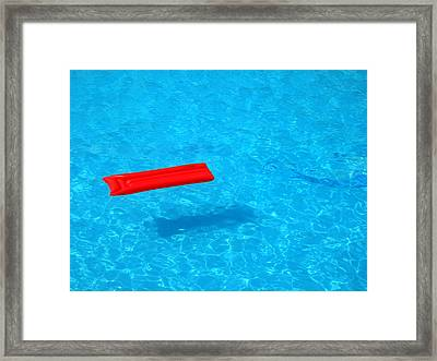 Pool - Blue Water And Red Inflatable Mattress Framed Print by Matthias Hauser