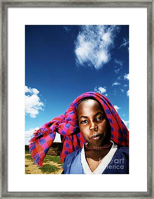 Poor African Child Outdoor Portrait Framed Print by Anna Om