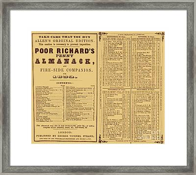 Poor Richards Penny Almanack, 1852 Framed Print by Photo Researchers