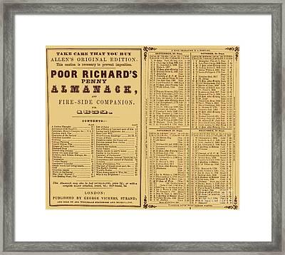Poor Richards Penny Almanack, 1852 Framed Print