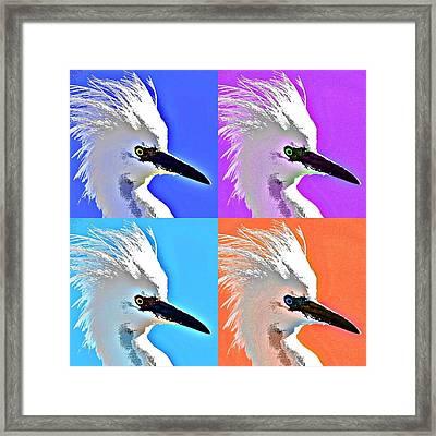 Pop Star Egret Framed Print by Fraida Gutovich