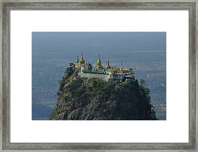Popa Mountain Top Temple Framed Print by Huang Xin
