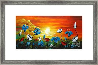 Poppies And Iris Framed Print by Uma Devi