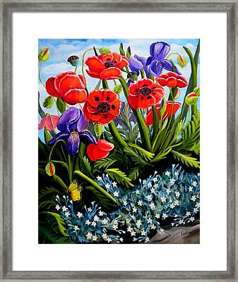 Poppies And Irises Framed Print
