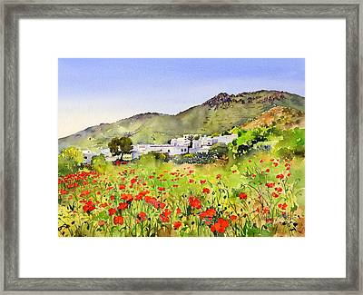 Poppies At Las Hortichuelas Framed Print by Margaret Merry