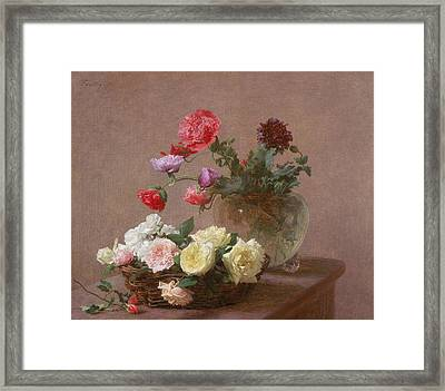 Poppies In A Crystal Vase - Or Basket Of Roses Framed Print by Ignace Henri Jean Fantin-Latour