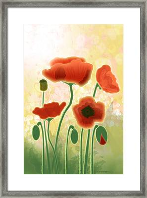 Poppy Mountain Meadow Framed Print by Melisa Meyers