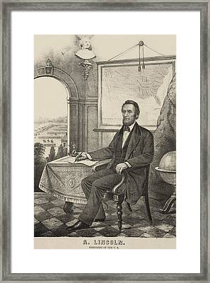 Popular Print Of President Lincoln Made Framed Print by Everett