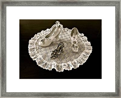 Porcelain And Lace Framed Print